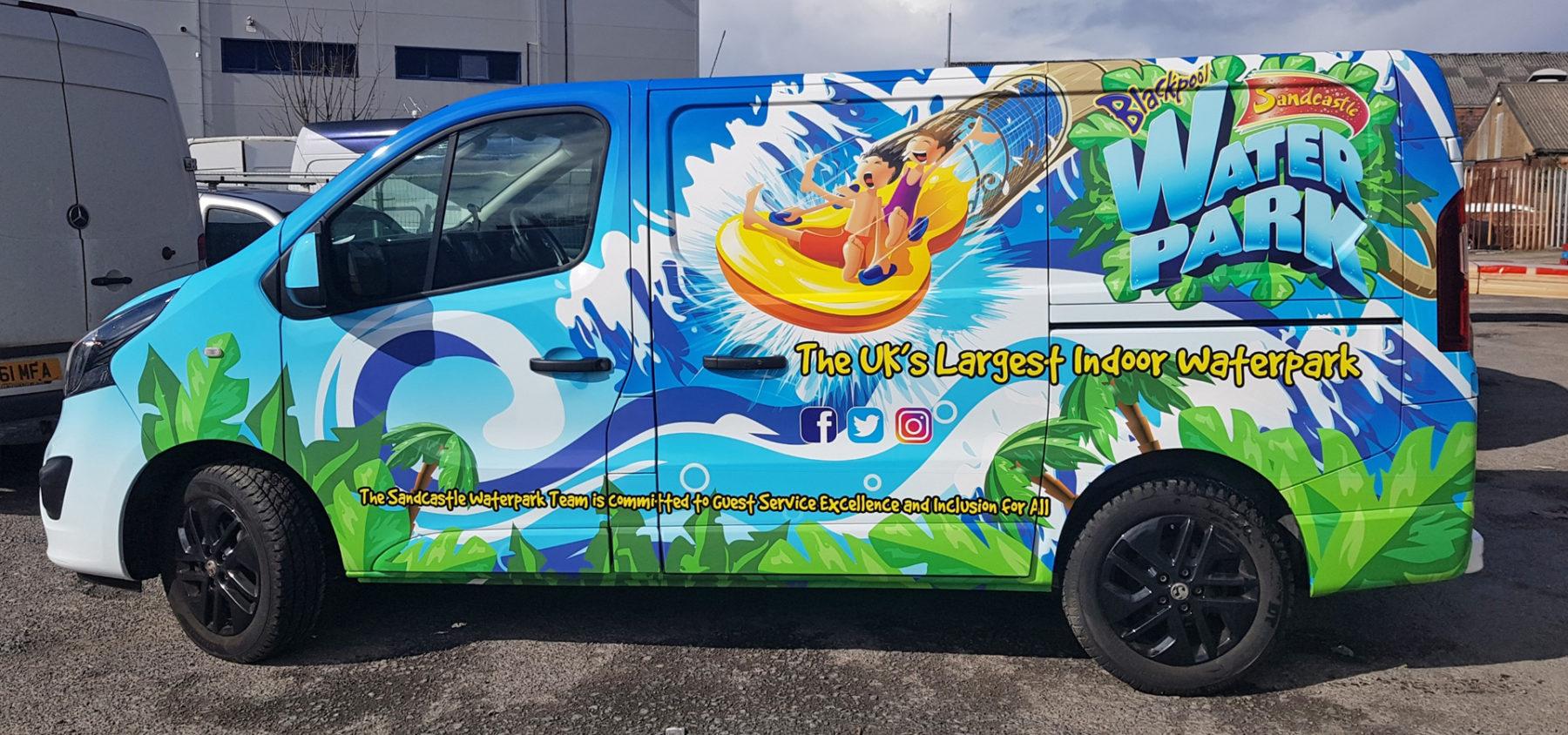 Sandcastle Waterpark van vehicle wraps