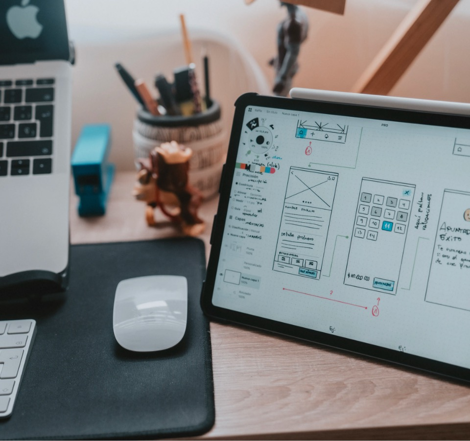 Tablet device showing ux website design wireframe prototype