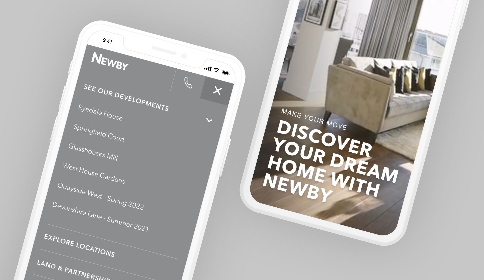 Homes developer mobile web design