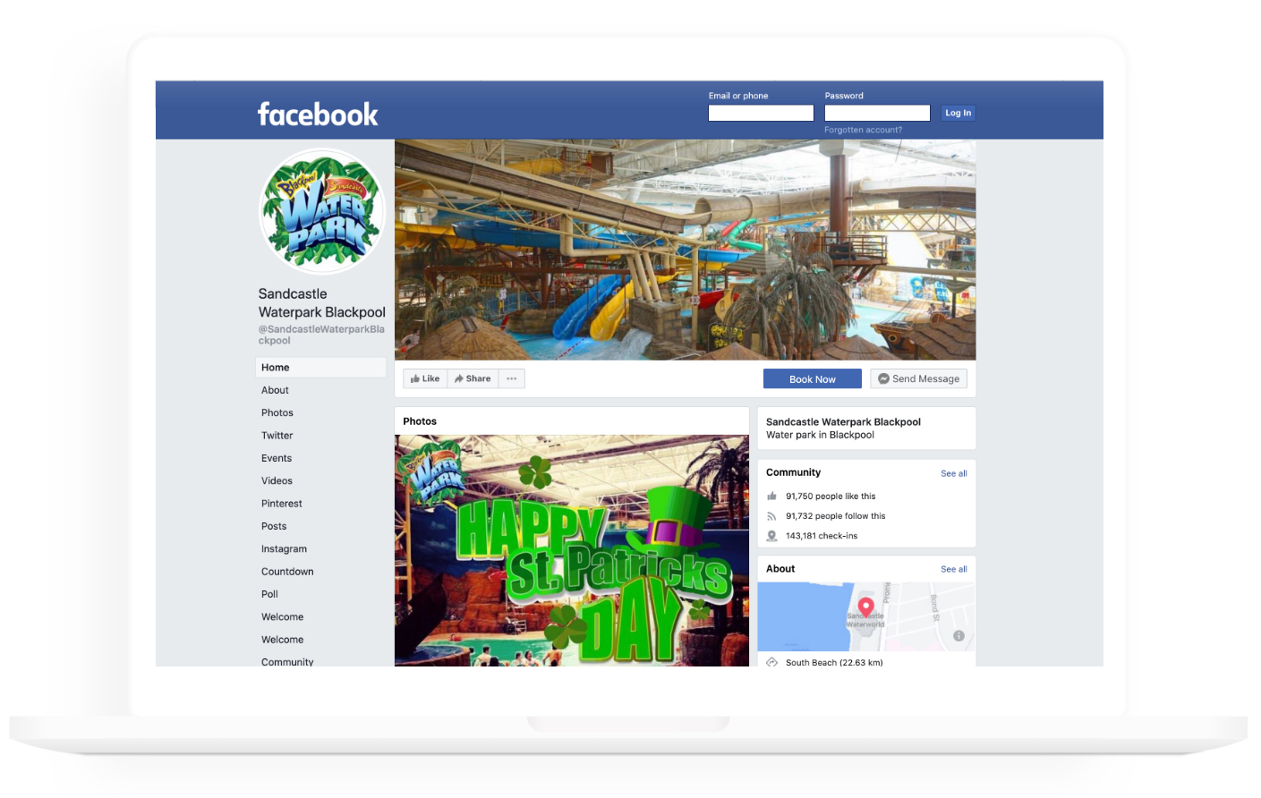 Sandcastle Waterpark social media screenshot