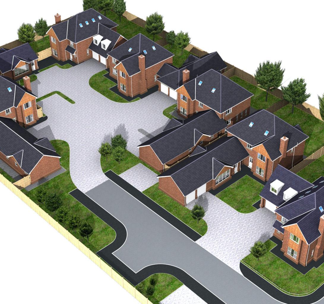 CGI render of a street scene