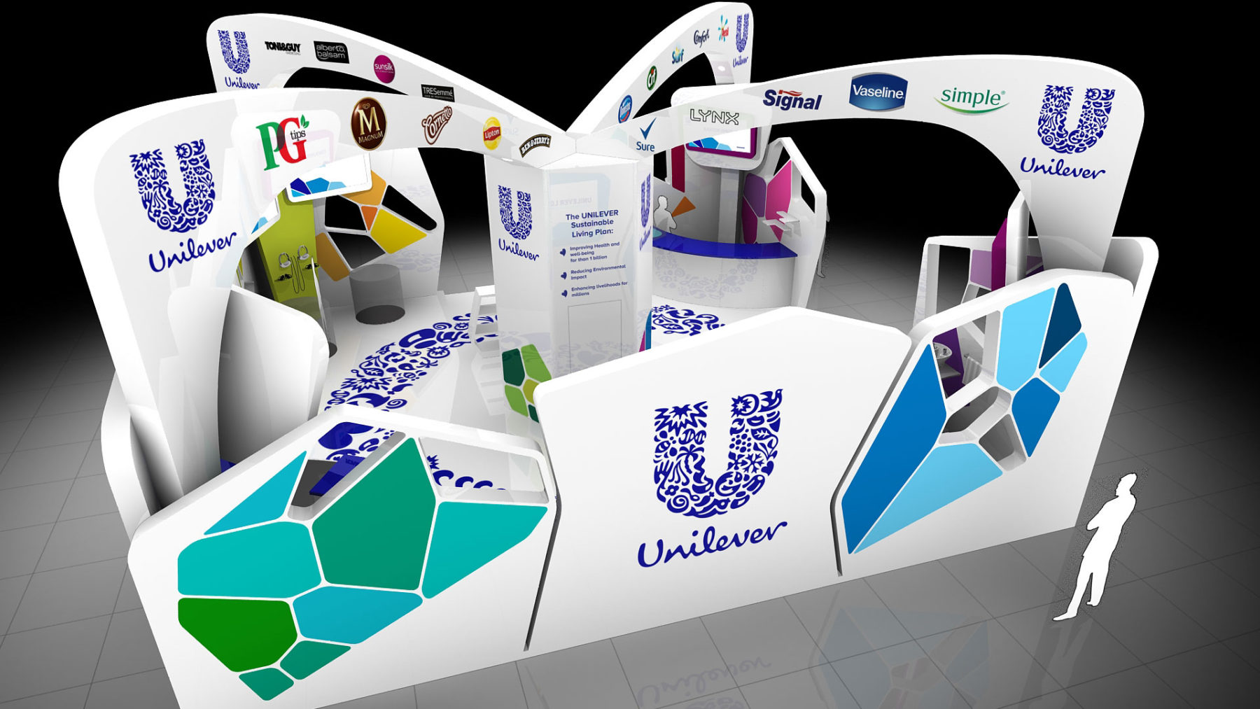 3d visualisation of an exhibition stand design solution