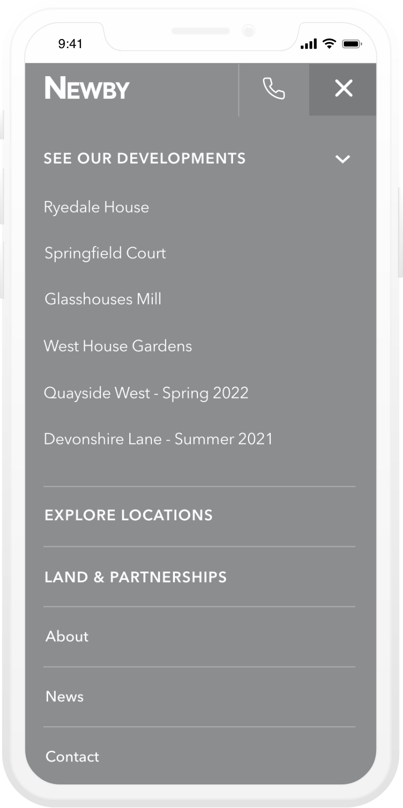 Newby homes mobile development website