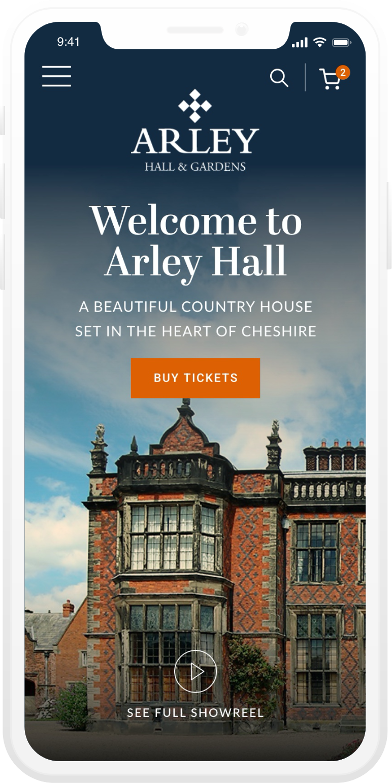 Arley Hall mobile web design sample
