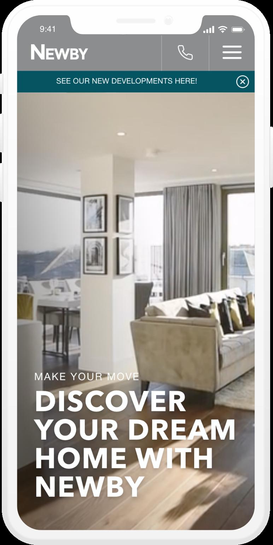Newby homes mobile design website