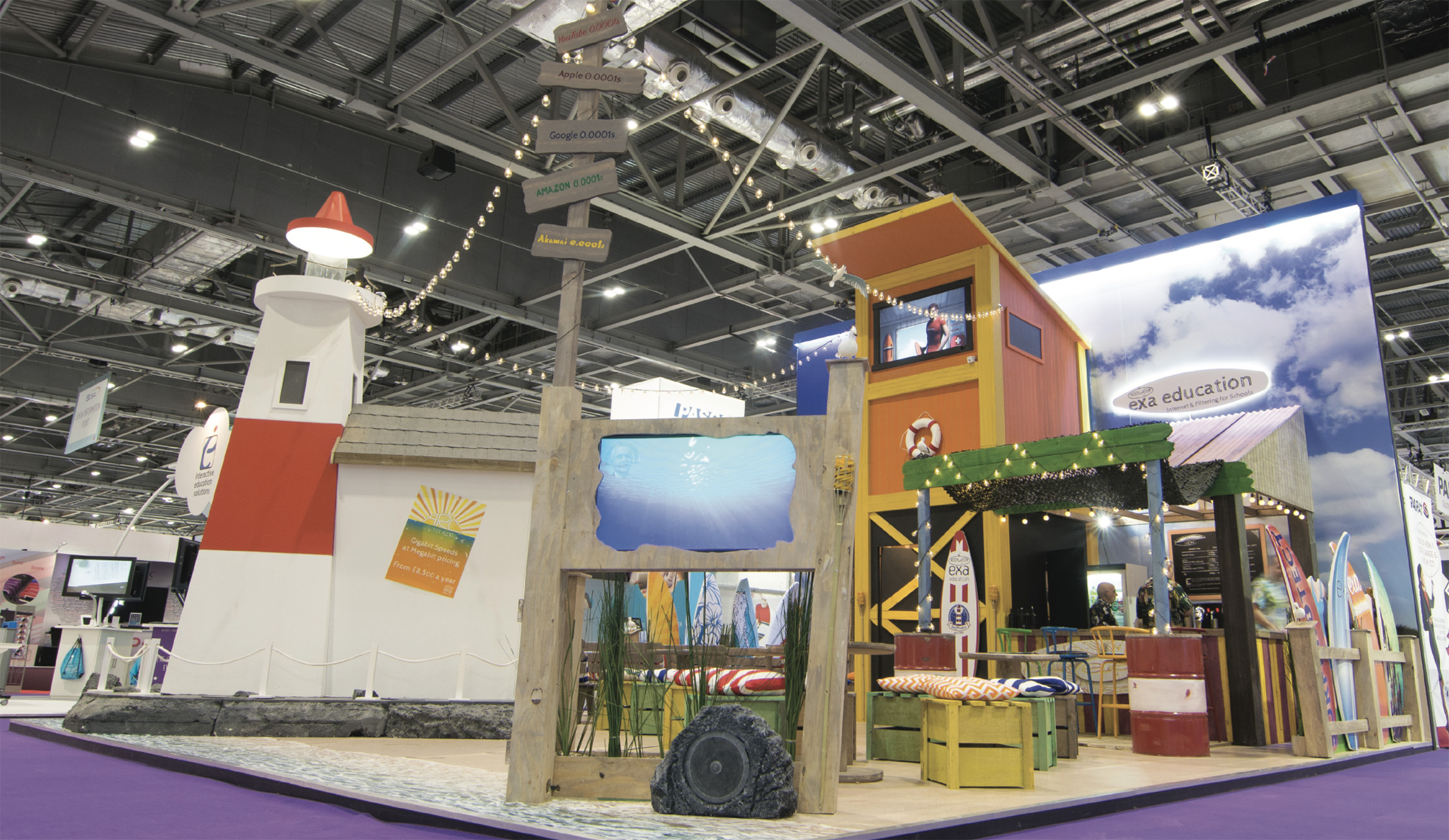 Beach themed exhibition stand