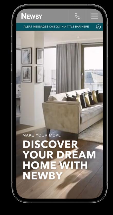 Mobile property website design mockup