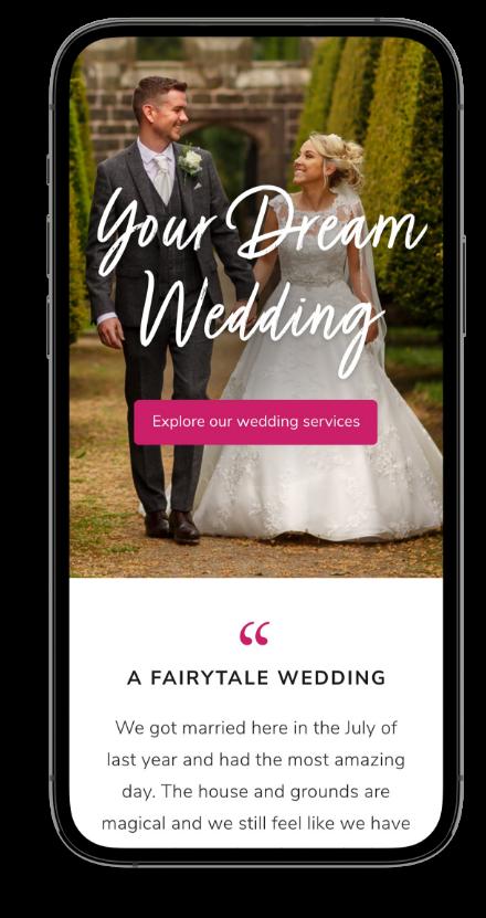 Mobile wedding website design mockup