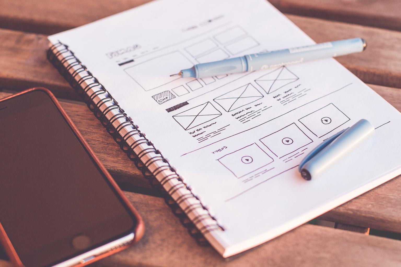 Wireframe web design sketch